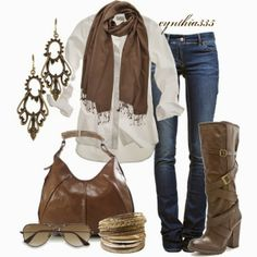 Brown scarf, white shirt, jeans, long boots and brown hand bag for fall