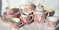 17 Pcs Allertons 1890 Red Punch Judy Childs Tea Set Teapot Creamer Plates Cups
