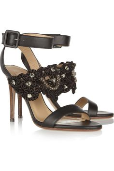 Valentino women's embroidered leather sandals