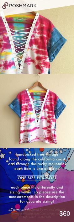 Watercolor Tie Dye Crop Boxy fit slightly cropped vintage tie dye tee. White lacing down the center. Best fit for S/M.  MEASUREMENTS: Chest 21 inches Length 23 inches  *Listed as LF for views. *Price firm unless bundled.   Trades  Modeling  Check out my closet for more vintage tees! LF Tops Crop Tops