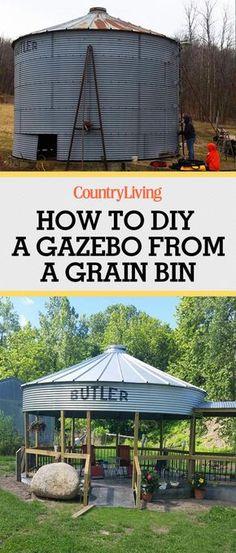 This DIY Grain Silo Gazebo Is the Perfect Summer Hangout This Couple Used Their Farm's Grain Bin to Outdoor Fun, Outdoor Decor, Outdoor Ideas, Patio Ideas, Backyard Ideas, Gazebo Ideas, Outdoor Entertaining, Outdoor Spaces, Outdoor Bars