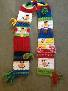 Ravelry: 'Snappy Sampler Snowman Scarf' pattern by Heidi Yates Crochet Snowman, Christmas Crochet Patterns, Holiday Crochet, Crochet Scarves, Crochet Yarn, Crochet Granny, Hand Crochet, Christmas Scarf, Christmas Crafts