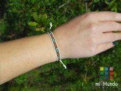 Red copper blue miyuki loom beaded bracelet seed by MiMundoJewelry