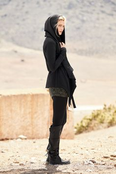 This cardigan can be worn THREE different ways! Nyota Cardigan, Black Spa Leggings, Black Mojave Boots