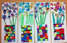 mother's day bouquets- apex elementary art- k or 1?