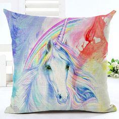 Beautiful watercolour Unicorn cushion covers by NixieNooDesigns on Etsy Unicorn Cushion, Unicorn Pillow, Unicorn Art, Unicorn Pattern, Cushion Covers, Cotton Linen, Cushions, Sofa, Throw Pillows