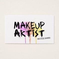 #makeupartist #businesscards - #chic modern makeup artist watercolor pink grunge business card