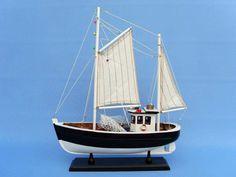 "Wooden Keel Over Model Fishing Boat 18"""