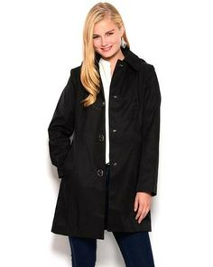Title: Anne Klein Turn-lock Button-Up Jacket  Brand Name: Anne Klein  Item Type: Apparel  Item: Jacket  Made In: Imported  Gender: Women  Condition: Brand New  Material: Shell Front: 57% Cotton 43% Polyester, Shell Back & Lining: 100% Polyester  Neck Type: Hooded  Sleeves: Long sleeves  Care Instructions: Machine wash  Fit: Classic Fit  Removable hood with drawstring Turnlock button-up closure Slit pockets Visible stitching Lined Soft, comfortable fit