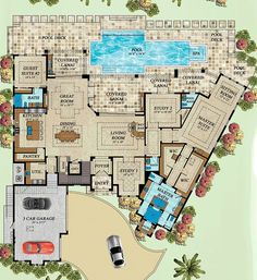 Coastal Florida Mediterranean Level One of Plan 71543 I love this plan--with modification, of course. You can tell this is a southern home. We live in Ohio. Where is the coat closet? Take out the wet bar and put a fireplace on that wall. Family House Plans, Dream House Plans, House Floor Plans, My Dream Home, Florida House Plans, Florida Home, The Plan, How To Plan, Casas The Sims 4