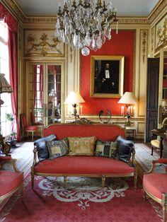 Vivid Tangerine makes a Statement in Old World Grandeur of Hotel Particulier - Paris District Classic Interior, Luxury Interior Design, Interior And Exterior, Interior Decorating, Room Interior, Decorating Ideas, Decor Ideas, Red Interiors, Beautiful Interiors