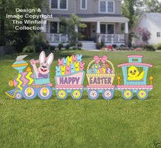 New Items - Easter Train Woodcraft Pattern Easter Arts And Crafts, Easter Projects, Easter Garden, Easter Colors, Easter Party, Easter Wreaths, Easter Baskets, Holiday Crafts, Wood Crafts