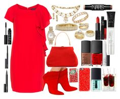 """Red Day"" by bcurryrice on Polyvore featuring Manon Baptiste, Tabitha Simmons, Mansur Gavriel, David Yurman, Bloomingdale's, Rolex, Cartier, Shay, Allurez and NARS Cosmetics"