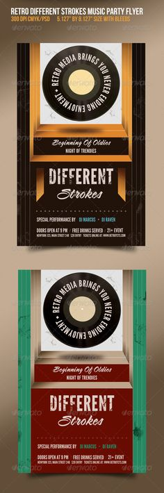 Different Strokes Retro Music Dance Party Flyer $6.00