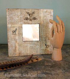 Erfahren Sie, wie um einen Spiegel mit Mod Podge und Ihre Lieblings-Mod Formen schmücken.  Ich liebe vor allem die antiken Wachs für ein einzigartiges aged look!