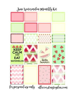 Planner & Journaling Printables ❤ Free Watermelon Planner Stickers - June Kit - All According to Plan
