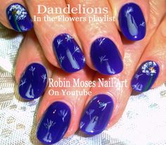 Beautiful dandelion nails in navy!!! #dandelion #nail #art #nails #design #idea #trends #howto #diy #navy #opi #mycarhasnavygation #nailart #pretty
