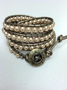 Faux Pearl and Leather Wrap Bracelet chan luu by Leatherwraps, $59.00