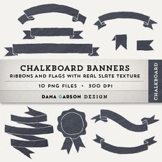 Chalkboard Ribbon Banners for invites, printing, scrapbooking, digital collage, clip art, ClipArt
