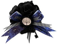 Haunted Mansion Lush Black Rose Fascinator Black and White Stripe Ribbons, Mansion Bow, a Satin Black Metal Key, and Candelabra Curio by Rottengirl's Sweet Shop