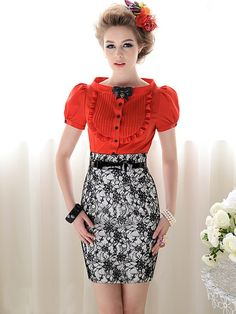 Morpheus Boutique  - Red Vintage Style Ruffle Cap Sleeve Chiffon Bow Shirt and Lace Detail Skirt