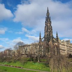 Blue sky and fluffy white clouds over the Scott Monument this morning. #thisisedinburgh #edinphoto #Edinburgh by thisisedinburgh