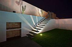 Lit garden stair