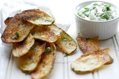 Creamy Avocado Dip And Baked Taco Potato Chips