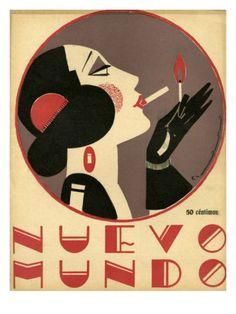 Print of Nuevo Mundo 1923 Spain cc magazines women art deco portraits womens Art Deco Posters, Vintage Posters, Vintage Art, Vintage Graphic, Vintage Typography, Vintage Photos, Art Nouveau, Art Deco Illustration, Illustrations