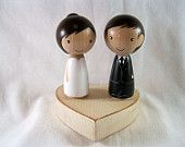 Kokeshi Peg Doll Semi Custom Wedding Cake or Cupcake Tower Topper with Chunky Heart Stand