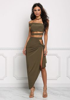 Olive One Shoulder Cut Out Strap Crop Top - Festival - Trends Crop Top Dress, Crop Top Outfits, Sexy Outfits, Sexy Dresses, Trendy Outfits, Dress Skirt, Dress Outfits, Nice Dresses, Cute Outfits