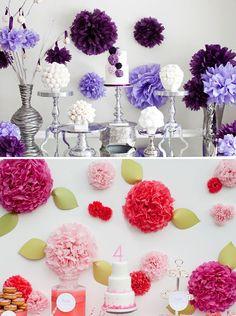 ideas para decorar fiestas con pompones de papel