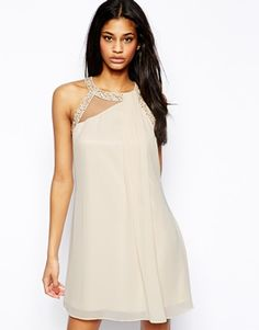 Little Mistress Shift Dress with Embellished Neck and Pleat Front