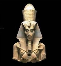 Akhenaten (aka Amenhotep IV), father of Tutankhamen.  Interesting guy; tried to bring a form of monotheism to Egypt. I've heard many theories about his unusual and striking appearance, including the suggestion that he suffered from acromegaly.  http://en.wikipedia.org/wiki/Akhenaten