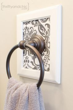 Decorative Framed Towel Holder.  It's the beautiful details that make the difference.  Don't you think?