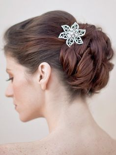 MB-9677   Antique Silver and Clear Rhinestone Vintage Inspired Flower Hair Pin