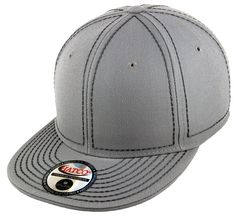 Blank Heavy Stitch Fitted Cap - Light Grey/Dark Grey