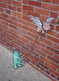 Uh Oh!!! A flying pig!!! What's gonna happen now??? Playful Chalk Art by David Zinn | Cuded