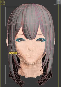 3d anime face topology. 3d hair, eyes, lashes