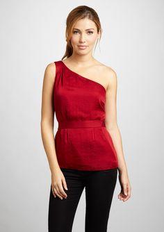 ideeli   TAHARI ARTHUR S. LEVINE Solid One-Shoulder Top, red