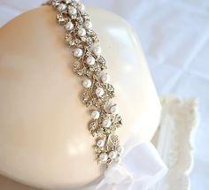 SALE  Bridal Pearl Rhinestone Sash Belt or by LottieDaDesigns, $65.00
