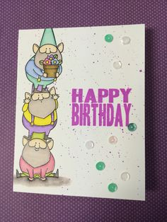 MFT You Gnome Me; trio; pastel; gnome gang; birthday; stacked gnomes