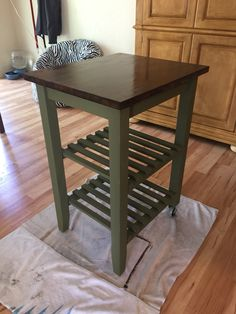 IKEA kitchen cart makeover.  Annie Sloan chalk paint and minwax polyshades in espresso.