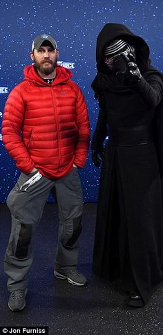 Indulging his inner Anakin Sykwalker: The father-of-one zipped up his jacket and aimed a menacing gaze at the lens as he posed alongside Kylo Ren