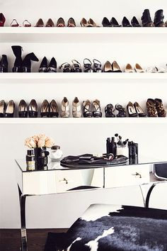 well hello shoes. I would love to have shelves all to myself for my shoes. And I wouldn't even have to bend down to get them!