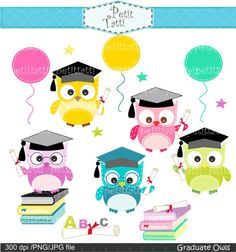 Digital clip art. for all use, Graduate Owls, Graduation day clip art, congratulations