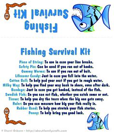 This is the Fishing Survival Kit... click on the Printables tab for a few more favors, crafts, and coupons.