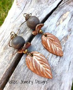 Wire wrapped ceramic beaded dangle bohemian modern earrings, leaves McKee Jewelry Designs