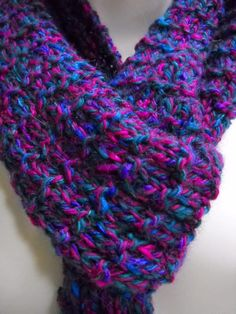 Soft Handknit Scarf, Extra Long Purple Scarf, Winter Accessories, Fashion Scarf $29.00