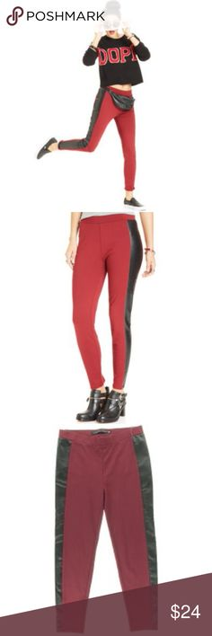 Tinseltown Red Ponte Faux Leather Trim Leggings XS Fun red ponte leggings with black faux leather trim. Pull-on. Rayon / nylon / spandex blend. NWT $49  XS Tinseltown Pants Skinny